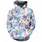 Men Cartoon Ahegao 3D Digital Printing Casual Long Sleeve Hooded Sweatshirts Coat Blue and white comics M