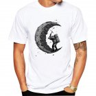 Men Cartoon Digging Moon Printing Loose T-shirt men_XL