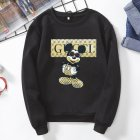 Men Cartoon Sweatshirt Micky Mouse Autumn Winter Loose Student Couple Wear Pullover Black_2XL