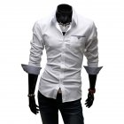 Men Casual All-match Business Solid Color Pocket Formal Shirts white_L