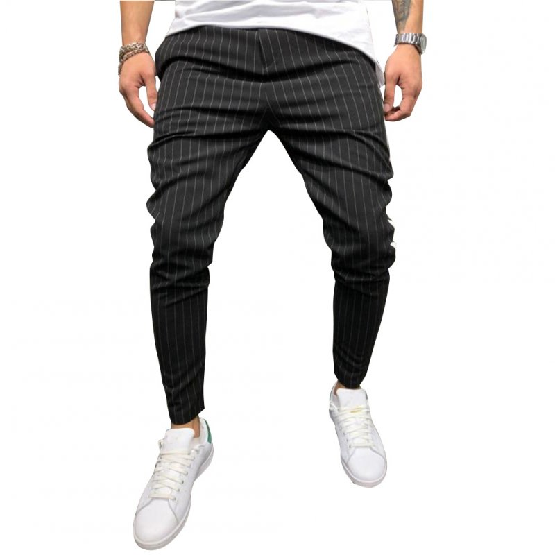 Men Casual All-match Stripe Twill Harem Pants black_XXL