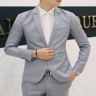 Men Casual Business Jacket One Button Slim Fit Suit Fashionable Coat Tops Gray 2XL