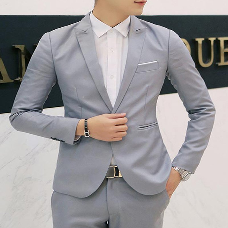 Slim Business Jacket One Button gray L
