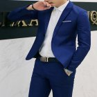 Men Casual Business Jacket One Button Slim Fit Suit Fashionable Coat Tops royalblue L