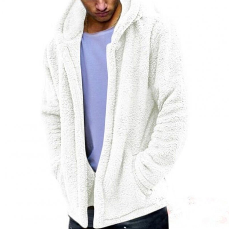 Men Casual Fluffy Fleece Coat Cardigan Hooded Sweatshirt Hoodie Jackets Outwear creamy white_XL