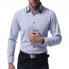Men Casual Formal Shirt Long Sleeve Cotton Lapel Adults Business Tops Light blue_L