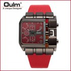 Men Casual Leather Band Square Dial Fashion Watch red