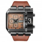 Men Casual Leather Band Square Dial Fashion Watch Brown