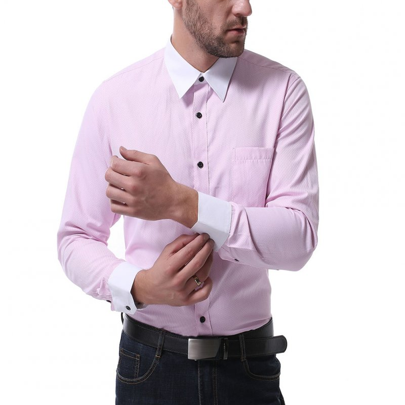 Men Casual Long Sleeve Shirt Autumn Lapel Adults Cotton Tops for Business Pink_XL