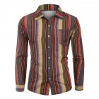 Men Casual Long Sleeve Digital Printing T Shirt Cardigan red_L