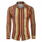 Men Casual Long Sleeve Digital Printing T Shirt Cardigan Orange_XXL