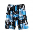 Men Casual Loose Colorful Printing Quick Dry Beach Shorts Letter blue_One size