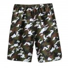 Men Casual Loose Colorful Printing Quick Dry Beach Shorts Army green camouflage_One size