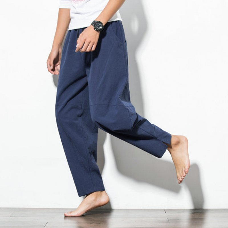 Men Casual Loose Harem Pants Drawstring Chinese Style Wide Leg Pants Blue_XXL