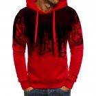 Men Casual Loose Long Sleeve Hoodie Chic Printed Sports Hooded Sweatshirt Pullover red L
