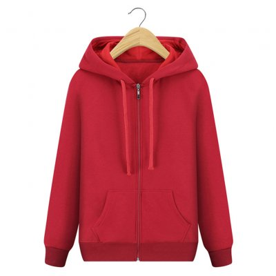 Men Casual Loose Long Sleeve Hoodie - Red M