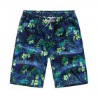 Men Casual Quick-drying Green Leaf Printing Beach Shorts Green flower male_3XL