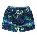 Men Casual Quick-drying Green Leaf Printing Beach Shorts Green flower female_2XL