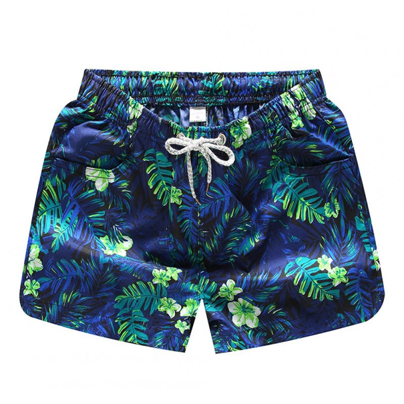 Men Casual Quick-drying Green Leaf Printing Beach Shorts Green flower female_3XL