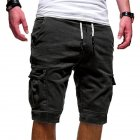 Men Casual Relaxed Fit Multi-pocket Middle Length Pants