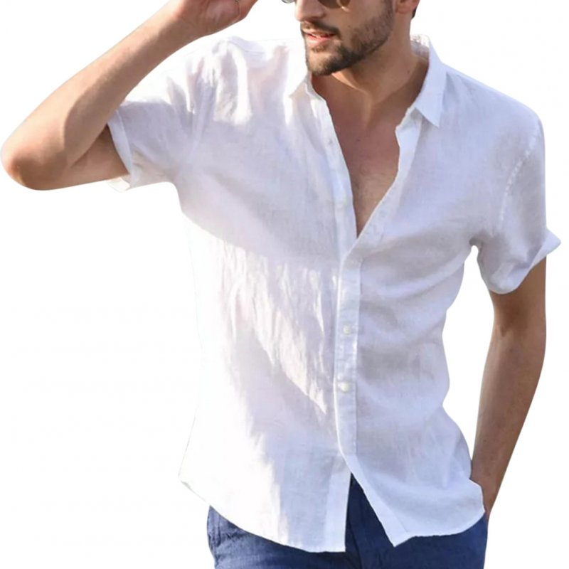 Men Casual Short Sleeves Shirt Concise Solid Color Shirt white_L