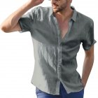 Men Casual Short Sleeves Shirt Concise Solid Color Shirt gray_M