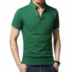 Men Casual Solid Color Cuff Stripe Pattern Standing Collar Shirt green_L