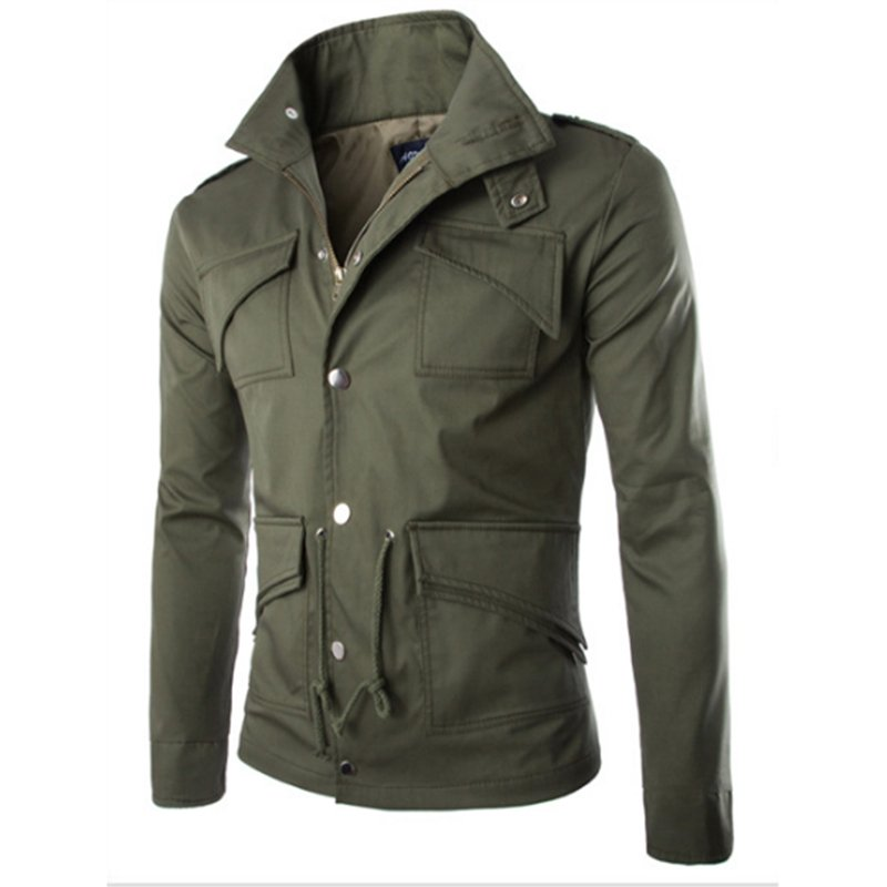 Men Casual Solid Color Jacket Chic Slim Multi-pocket Stand Collar Coat  ArmyGreen_(M)