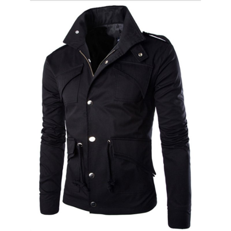 Men Casual Solid Color Jacket Chic Slim Multi-pocket Stand Collar Coat  black_(XL)