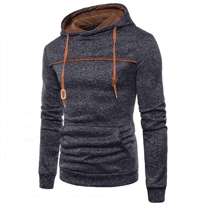 Men Casual Sports Long Sleeve Hoodie Simple Solid Color Hooded Sweatshirt Pullover black_XL