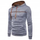 Men Casual Sports Long Sleeve Hoodie Simple Solid Color Hooded Sweatshirt Pullover light grey_L