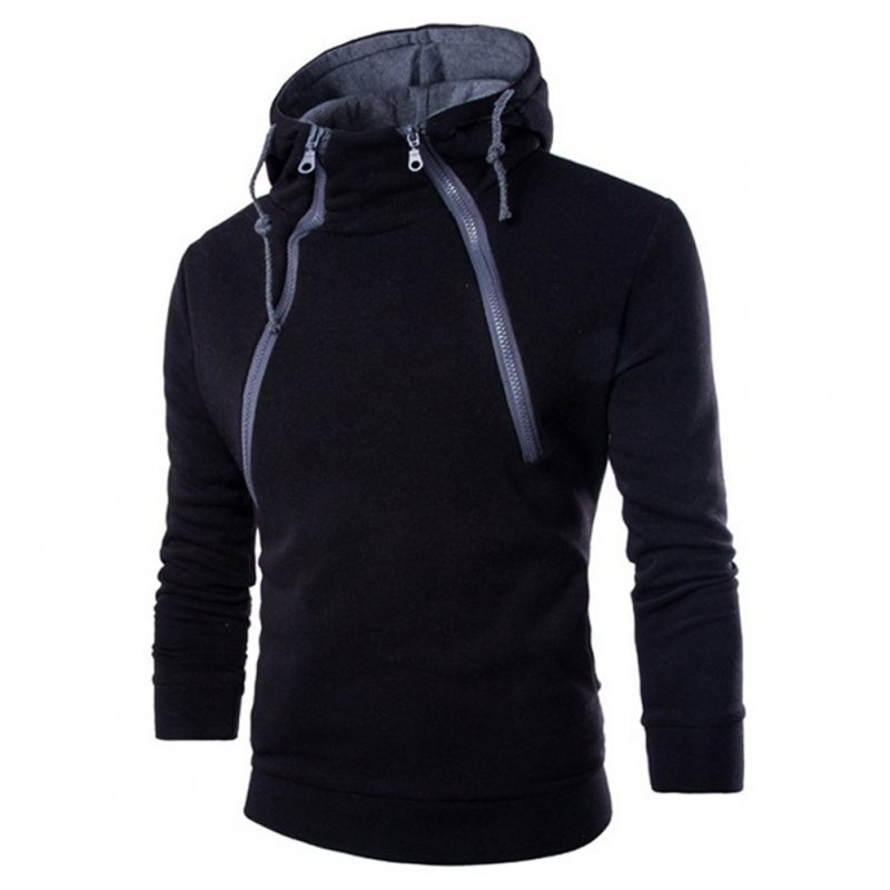 Men Casual Sports Long Sleeve Double Zipper Hoodie Simple Solid Color Hooded Sweatshirt  black_XL