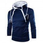 Men Casual Sports Long Sleeve Double Zipper Hoodie Simple Solid Color Hooded Sweatshirt  Navy_XL