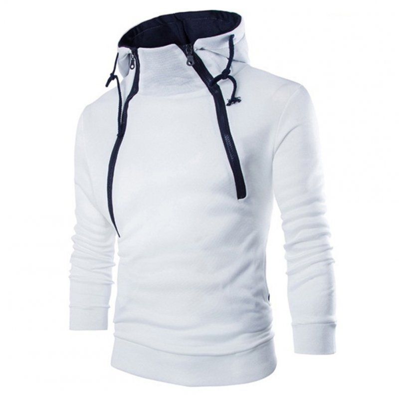 Men Casual Sports Long Sleeve Double Zipper Hoodie Simple Solid Color Hooded Sweatshirt  white_M