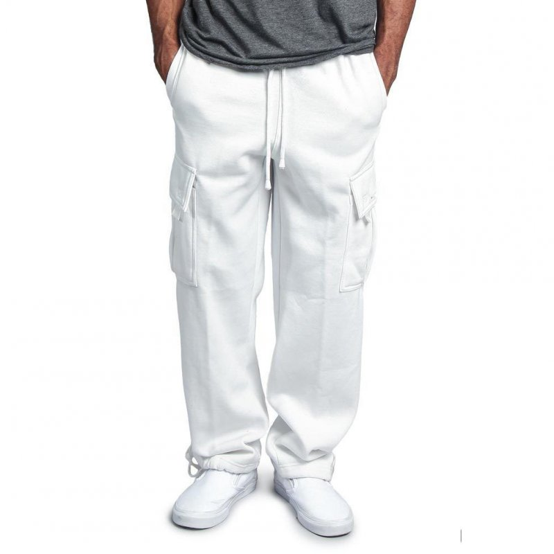 Men Casual Sports Multi Pockets Loose Straight Overalls Pants white_M