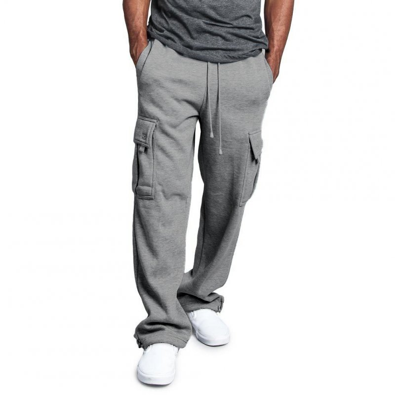 Men Casual Sports Multi Pockets Loose Straight Overalls Pants light grey_L