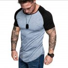 Men Casual Sports T-shirt Thin Slim Fashion Matching Color T-shirt Light gray with black_L