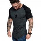 Men Casual Sports T shirt Thin Slim Fashion Matching Color T shirt Dark gray with black XL