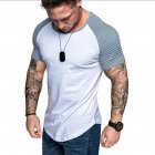 Men Casual Sports T shirt Thin Slim Fashion Matching Color T shirt White with gray L