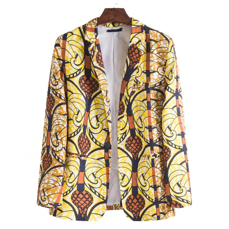 Men Casual Suit Casual African Ethnic Style Printing Single Breasted Coat XF210_M