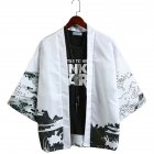 Men Casual Sunscreen Shirts Middle Sleeve Animal Pattern Tops white_S