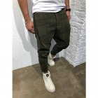 Men Casual Trousers Tight Trousers Foot Loose Long Pants  ArmyGreen_M
