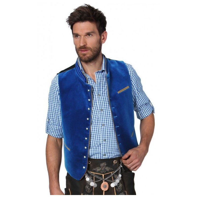 Men Casual Vest Beer Festival Waistcoat for Bavarian Traditional Costume Festival Party  blue_48