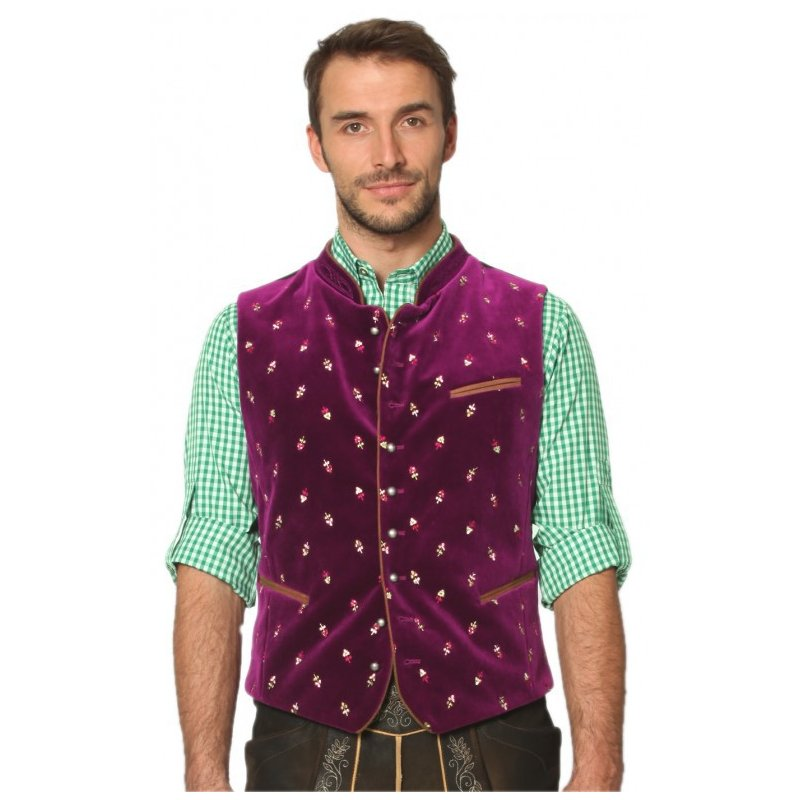 Men Casual Vest Beer Festival Waistcoat for Bavarian Traditional Costume Festival Party Embroidered rose red_52