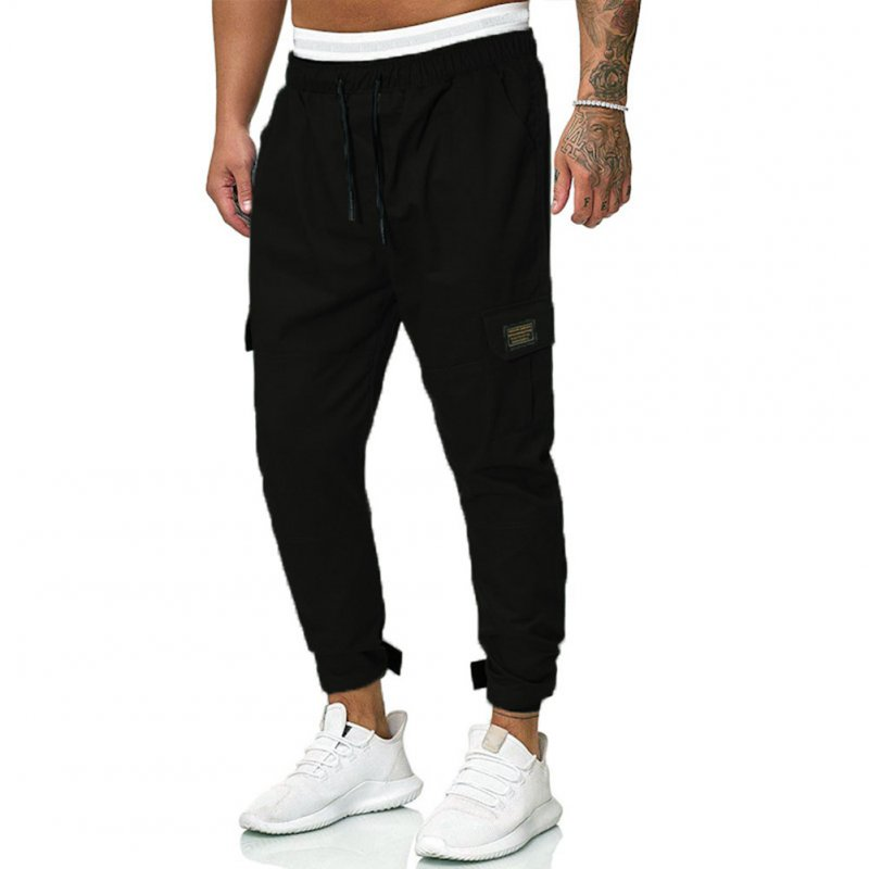 Men Causal Pants Autumn Loose Large Size Trousers for Outdoor Sports black_L