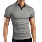 Men Classic Slim Shirt Short Sleeve Hit Color Casual Simple Tops  gray_M