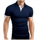 Men Classic Slim Shirt Short Sleeve Hit Color Casual Simple Tops  Navy_XL