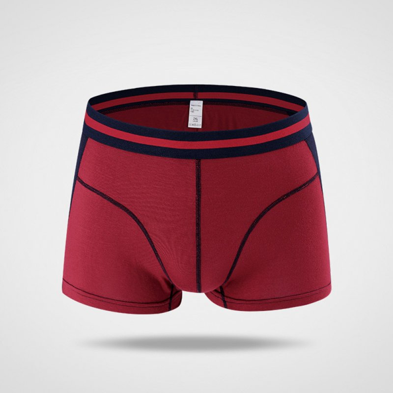 Men Color Block Modal Underpants Soft Boxers Fashionable Breathable Underwear Wine red_XXL