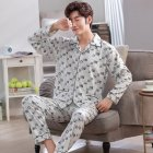 Men Comfortable Spring and Autumn Cotton Long Sleeve Casual Breathable Home Wear Set Pajamas 5639 XL