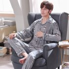 Men Comfortable Spring and Autumn Cotton Long Sleeve Casual Breathable Home Wear Set Pajamas 5636_XXXL